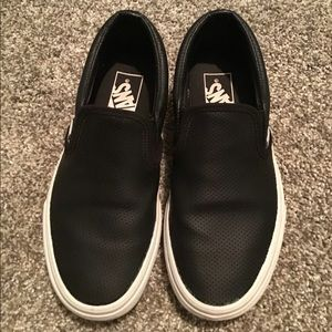 Vans classic slip-on perf leather black